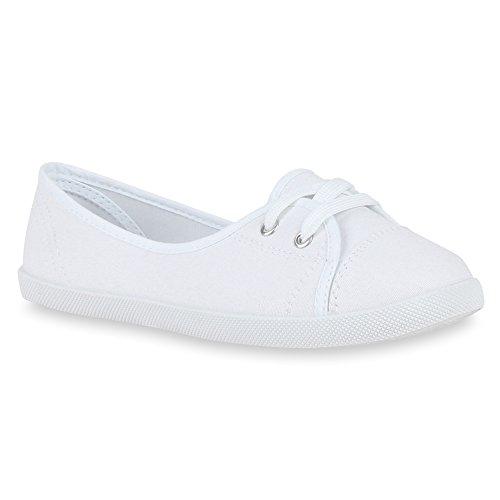 Klassische Damen Ballerinas Sportliche Stoff Slipper Flats Sneakers Slip-ons viele Farben Schuhe 49747 Weiss 40 Flandell