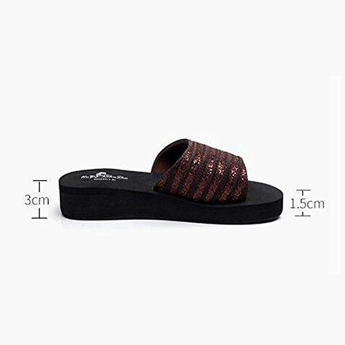 Donne sandali Brown / Black Pantofole femminili estive Pantofole antisdrucciolo Moda e tempo libero Base morbida Scarpe da spiaggia per 18-40 anni Confortevole ( Colore : Nero , dimensioni : 38 ) Marrone