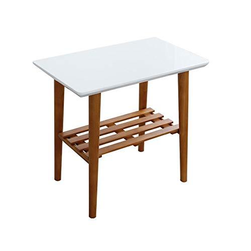 Tables CJC Consoles Basse Côté Fin Chevet Canapé Café Les avec Étagère Stockage Unité en Bois (Couleur : Blanc)