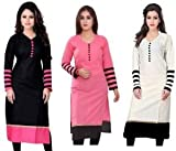 #10: Kesari King Women'S Cotton Set Of 3 Kurti(10333536_Black,Pink,White_Free Size)