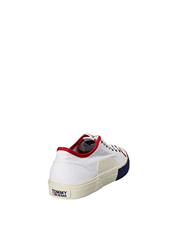 Hilfiger Denim TJ Urban Textile Sneaker, Scarpe da Ginnastica Basse Uomo Bianco (Rwb 020)