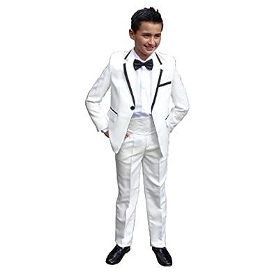 Jessidress Esmosquin Traje de Ceremonia Traje de Fiesta Traje de Boda Traje de Comunion Model Mateo 6 años Blanco