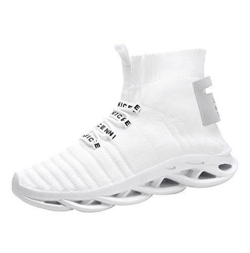 Herren Schuhe High Top Sneaker,TWBB Mode Ultra Leichte Training Sport Turnschuhe Herren Atmungsaktiv Knit Schnüren Schuhe Laufschuhe Fitnessschuhe Männer -