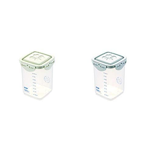 YFWDY Getreidebehälter Mit Deckel Kunststoff Küche Lebensmittellagerung Für Vorratsbehälter Sets Verschlossene Haushaltsdosen, 2 Sätze Von 1000 ml, 1800 ml