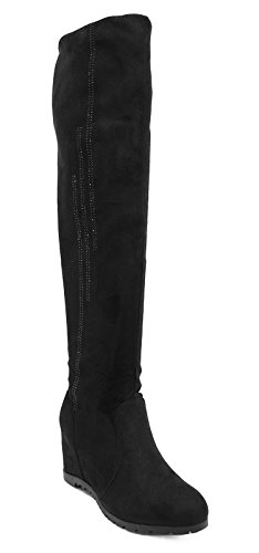 Ladies Black Soft Stretch Over The Knee High Ruched Wedge Boots Shoes Sizes 3-8 4