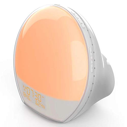 PANGOIE,Despertara Despertador Luces Wake Up Light 7 Luces LED Colores Sonidos Naturales