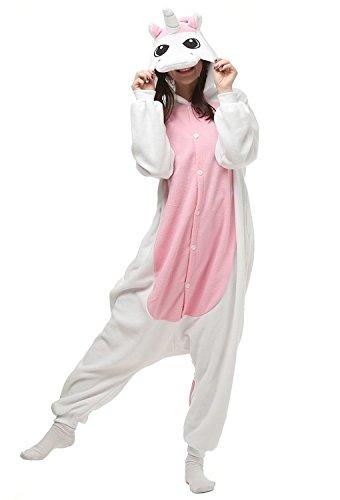 DSstyles Einhorn Pyjamas Karikatur Tierpyjamas Damen Unisex Kapuzen Nachtwäsche Cosplay Kostüme für Mädchen Damen Herren - Rosa - (Kinder Kostüm 1 Sache)