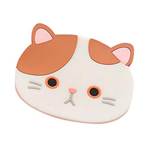 Ibaste 2pcs silicone coaster gatto carino sottobicchiere tappetino isolante tappetino antiscivolo per ciotola/tovaglietta