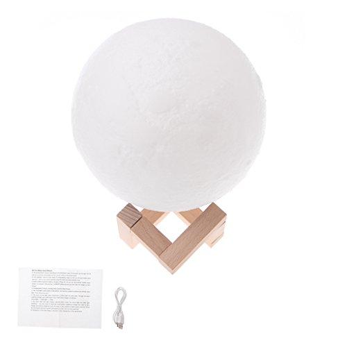 Wanfor 3D Druck Mond LED Nachtlicht mit Holzständer, 4.72 inch Moonlight Schreibtisch Lampe USB Wiederaufladbar mit Taschenlampe, Dimmbar Touch Control Helligkeit