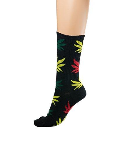 inmalige Anlage Weed Blatt drucken Unisex Baumwolle hohe Crew Athletische Rasta MFAZ Morefaz Ltd (Socks MIx) ()