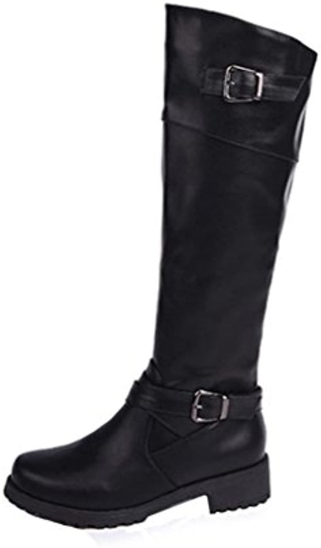 Koly Mujeres Invierno Otoño Botas planas zapatos cuero pierna alta Botas largas Dedo redondo Botas media pantorrilla...
