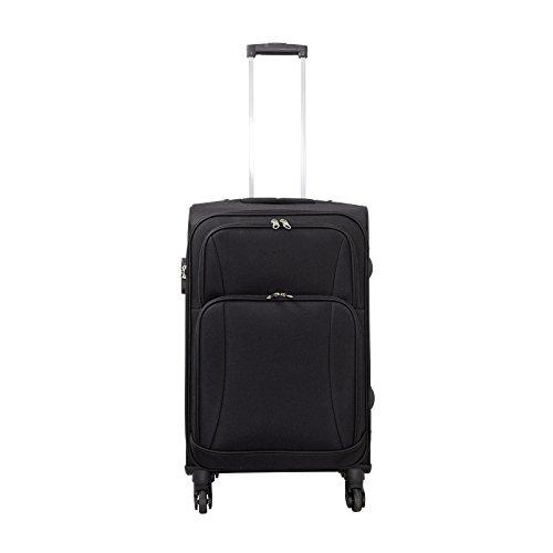 Trendyshop365 - Nylon Reisekoffer Trolley - Malaga Weichschalenkoffer 62 Liter Volumen - Koffer Schwarz Weichschale in M