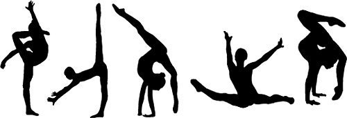 Online Design Citazione Artistica In Vinile,decalcomania Da Parete Adesivo 5 Ginnasti (gym dancer sport ginnasta ginnastica) - Nero