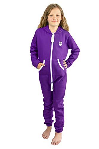 Gennadi Hoppe Kinder Jumpsuit Overall Jogger Trainingsanzug Mädchen Anzug Jungen Onesie,lila,7-8 Jahre