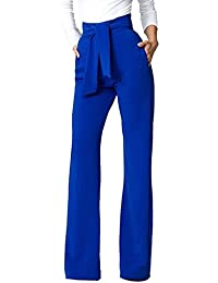Mupoduvos Mujer Casual Solid Cintura Alta Pantalones Palazzo con Cinturón  Suelto Fiesta De Oficina f8300697d31