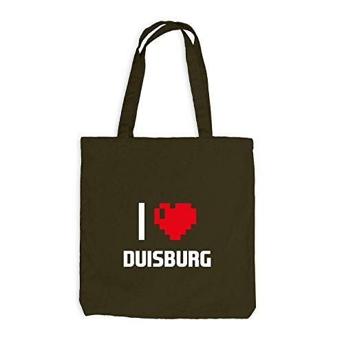 Jutebeutel - I Love Duisburg - Deutschland Reisen Herz Heart Pixel Olive