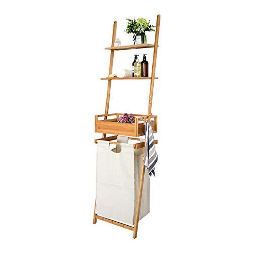 ZRI Bamboo Wäschekorb groß Wäschesammler mit Badezimmerregal Bambus, Badregal 3 Ablagen 195x50x35cm -