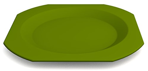 Ornamin Teller flach, Ø 27 cm grün, Melamin | großer hochwertiger, stabiler Kunststoffteller | robustes Alltags-Geschirr für Kinder, Camping, Picknick, Gemeinschaftsverpflegung, Großküchen, Institutionen | Menüteller, Speiseteller