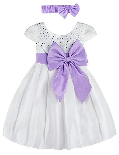 A&J Design Baby Mädchen Prinzessin Kleid Festlich Hochzeit Partykleid mit Stirnband (Weiß, 18-24 Monate)