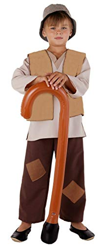 Schäfer Junge Kostüm - Magicoo Deluxe Hirten Kostüm Krippenspiel Kinder braun-beige mit Weste in 3 Farben - Schäfer Kostüm Kinder Jungen (beige, 128)