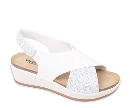VALLEVERDE Sandalo da Donna Incrocio in Vernice Bianco G52187 Modello Comfort Ideale per L'Estate. Scarpe in Pelle Primavera Estate 2019.EU 39