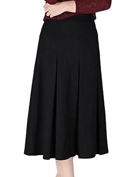 ZhiYuanAN Mujer Falda Plisada De Lana De Color Sólido Moda A Línea Faldas Vuelo Larga Salvaje Casual Campana Volantes...