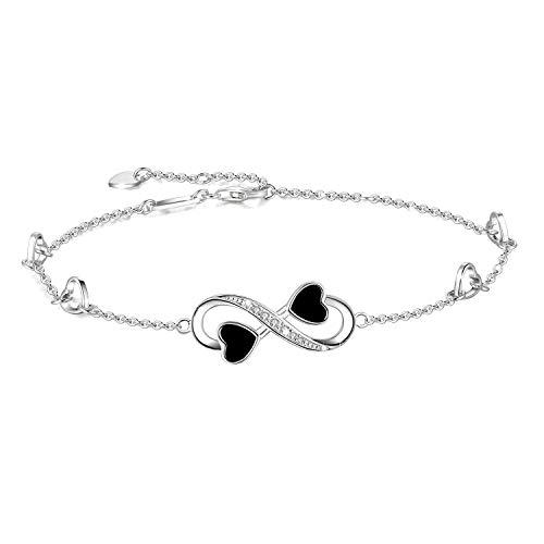 Infinity Liebe Ankle Armband für Frauen, 925 Sterling Silber Charms verstellbar Fußkettchen für Damen, Unendlichkeit Knöchel Armband (Silber)