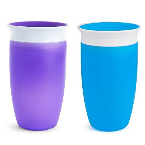 Munchkin Miracle 360ᵒ Trinkbecher, auslaufsicher, ab 12 Monaten, blau/violett, 296 ml (2er Pack)