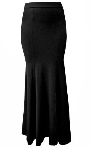 (Morticia Skirt) Langer Schwarzer Rock Im Gothic Viktorianischen Morticia Fishtail Stil - Gr. (Kleid Morticia)