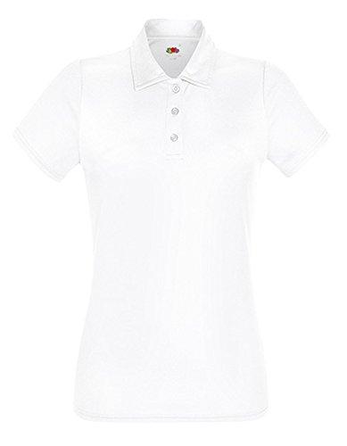 Performance Polo Lady-Fit, Größe:XXL, Farbe:WHITE - Damen Strukturierte Performance Polo