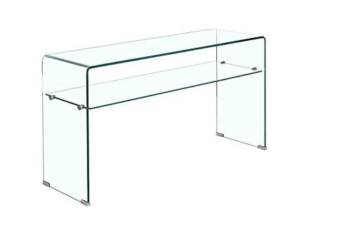 Meubletmoi Console en Verre trempé - étagère Transparente - Table d'entrée Design épurée - Ice