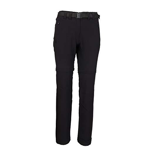 CMP Zipp Off Hose Damen Outdoorhose atmungsaktiv und Winddicht Wanderhose und Trekkinghose mit UV-Schutz und Gürtel in schwarz grau und blau Bayarda