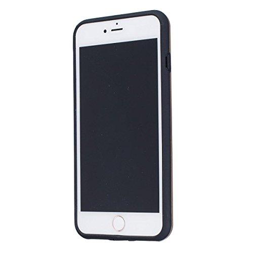 """MOONCASE iPhone 7 Plus Hülle, Dual Layer Soft TPU + Rutschfest Hart PC Schale Anti-Shock Defender Schutz Tasche Schutzhülle Case für iPhone 7 Plus 5.5"""" Schwarz Gold"""