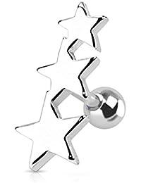 Kultpiercing - Piercing para tragus y helix de la oreja, diseño de estrellas