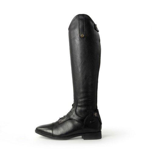 Brogini como - stivali alti da equitazione in pelle - donna (39 - polpaccio 38 cm) (nero)