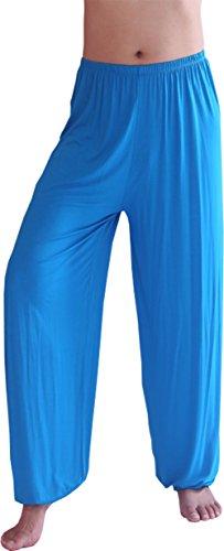 Hoerev Marke Männer Super weiches Modal Spandex Harem Yoga Pilates Hosen,See Blau,L
