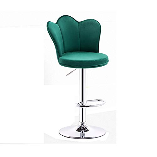 Barstools Chair Tabouret de Bar en Daim Forme de Couronne Chrome chromé Base élargie Fauteuil de Bar Rotary Gas Lift (Couleur : Green, Taille : Base 41cm-)