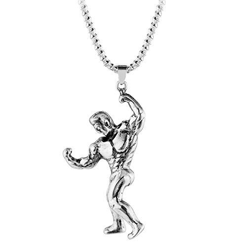 DADATU Halsketten für Herren Hantel Charme Fitness Männliche Modell Halskette Punk Silber Farbe Kette Bodybuilding Gym Halsketten Für Männer Fitness Trainer Schmuck