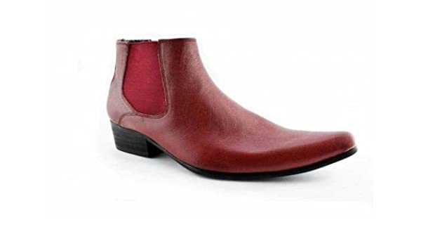 finest selection 75735 315a0 Paolo Vandini Red Leather Men's Winklepicker Chelsea Boots ...