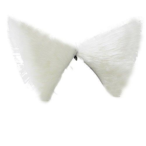 Neuware Katzenohren Kawaii Cat Fox Ears Hair Clip Katze Ohren Haarband Karneval Fasching Party Cosplay Weiß