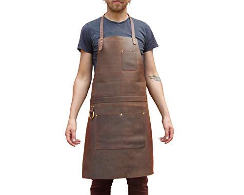 Delantal de cuero profesional para chef, carnicero, metalúrgico, carp