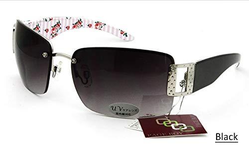 LKVNHP Sorbern New Luxury Frauen Sonnenbrillen Randlose Übergroßen Metall Sonnenbrille Gradient Lens Für Damen UV400 Eyewear Oculos FemininoSchwarz
