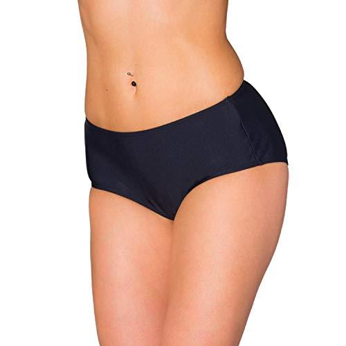 Aquarti Damen Bikinihose mit Mittelhohem Bund, Farbe: Schwarz, Größe: 44