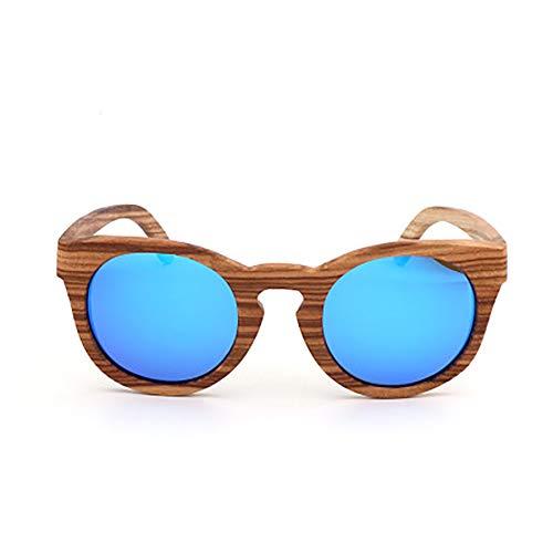 FYrainbow Unisex Holz/Bambus Sonnenbrille, Umweltfreundliches Material Herren Damen Polarisierte Sonnenbrille, UV-Schutz, Strahlenschutz UV400,B