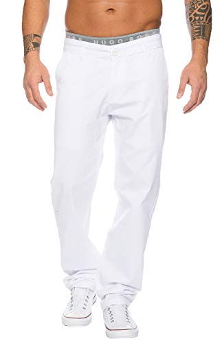Rock Creek Herren Designer Chino Stoff Hose Chinohose Regular Fit Herrenhose W29-W40 RC-2083 [RC-2083 - Weiß - W34 L32]