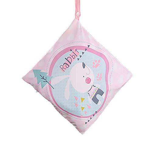 Xuxuou 1 Pcs Baby Wickeltasche Wasserdichte Wiederverwendbare Babywindel mit Reißverschluss Toilettenartikel Windelsäckchen(Rosa Hase)