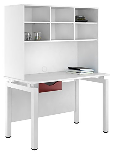 UCLIC Kit Out My Office Bench Desk Cupboard with Single Drawer and Open Upper Storage, Metal, Burgundy, 1200 mm