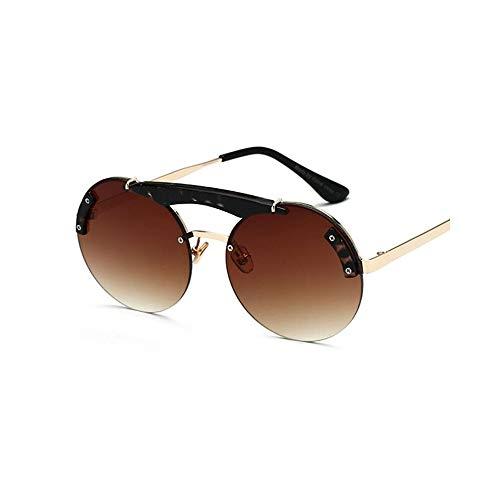 WJFDSGYG Woman Fashion Sonnenbrillen Double Bridge Übergroße Runde Sonnenbrille Brille Designer Tortoise Eyewear