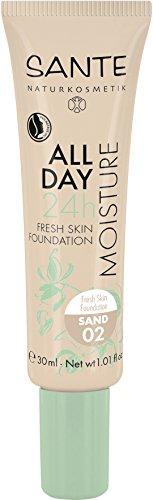 SANTE Naturkosmetik All Day Moisture 24h Fresh Skin Foundation, 02 Sand, Mittlerer Hautton,...