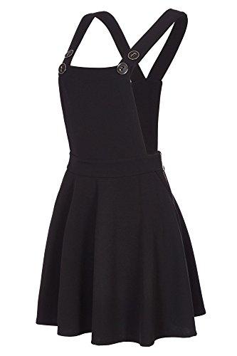 Mädchen Kostüm Mit Hosenträgern - Laeticia Dreams Damen Latz Rock Trägerrock Jeans Optik XS S M L XL, Farbe:Schwarz, Größe:36